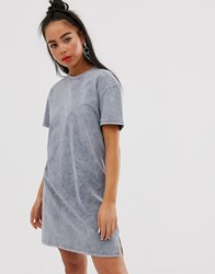 Bershka Mini Acid Wash Dress In Gray Gray