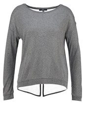 Mavi Jeans Long Sleeved Top Grey Melange Mottled Grey