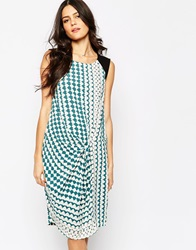 Y.A.S Sleeveless Graphic Print Dress With Twist Front White
