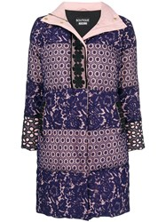 Boutique Moschino Broderie Anglaise Padded Coat Pink And Purple