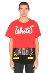 Off White Patchwork Tee Red