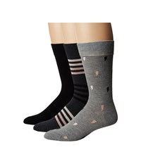 Steve Madden 3 Pack Bolts And Stripes Crew Grey Crew Cut Socks Shoes Gray