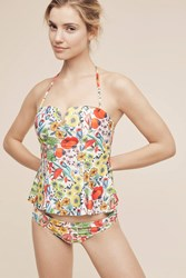 Anthropologie Peplum Swim Tankini Red Motif