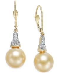 Macy's Cultured Golden South Sea Pearl 10Mm And Diamond 1 4 Ct. T.W. Drop Earrings In 14K Gold