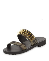 Giuseppe Zanotti Men's Studded Camo Canvas Strap Sandal Multi