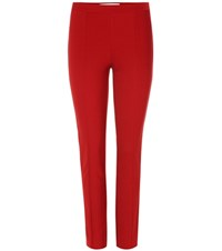 Diane Von Furstenberg Skinny Mid Rise Trousers Red