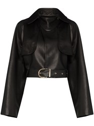 Khaite Krista Cropped Leather Jacket 60