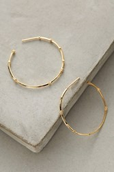 Anthropologie Bamboo Rhinestone Hoops Gold