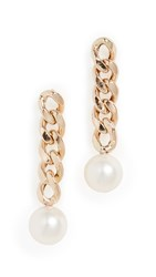 Zoe Chicco 14K Gold Large Curb Chain Link Drop Earrings Yellow