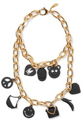 Moschino Layered Gold Tone And Coated Metal Necklace One Size