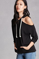 Forever 21 One Shoulder Heathered Hoodie
