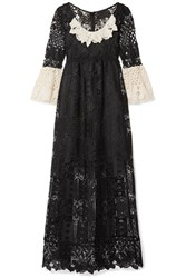 Anna Sui Floral Diamond And Medallion Crocheted Lace Midi Dress Black
