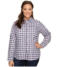 Columbia Plus Size Silver Ridge Plaid Long Sleeve Shirt Graphite Twill Women's Long Sleeve Button Up Gray