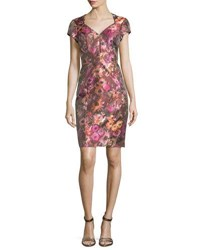 Theia Short Sleeve Floral Jacquard Cocktail Dress Cactus Rose