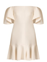 Valentino Off The Shoulder Crepe Mini Dress Ivory