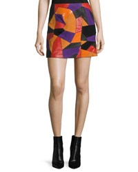 Mcq By Alexander Mcqueen Patch Cut Colorblocked Leather Skirt Multi