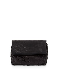 French Connection Spectrum Sequin Fold Over Clutch Black