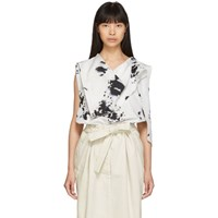 5960a586466300 Christophe Lemaire White And Black Animal Skin Print Foulard Blouse
