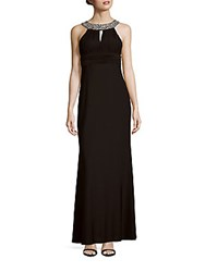 Theia Sequined Neck Flared Gown Black