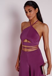 Missguided Cut Out Wrap Around Bralet Purple Purple