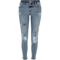 River Island Womens Blue Sequin Alannah Relaxed Skinny Jeans