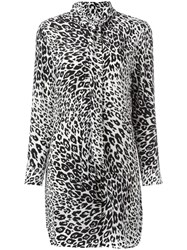 Equipment Leopard Print Pussybow Dress Black