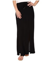 Splendid Rayon Crinkle Gauze Maxi Skirt Black Women's Skirt