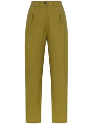 Mara Hoffman Jade High Waisted Straight Leg Linen Trousers Green