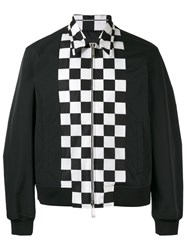 Dsquared2 Checkerboard Panel Bomber Jacket Men Polyamide Polyester 50 Black