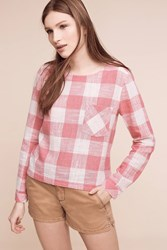 Anthropologie Button Back Gingham Tee Pink