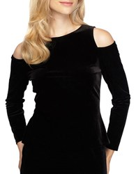 Alex Evenings Plus Long Sleeve Cold Shoulder Top Black