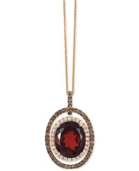 Le Vian Chocolatier Garnet 5 1 2 Ct. T.W. And Diamond 2 3 Ct. T.W. Pendant Necklace In 14K Rose Gold Red