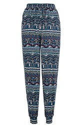 Quiz Blue Aztec Print Trousers Black