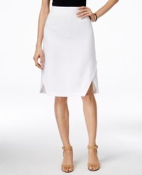 Ny Collection Linen Dolphin Hem Pencil Skirt