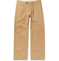 Massimo Alba Regata Wide Leg Watercolour Dyed Cotton Trousers Brown