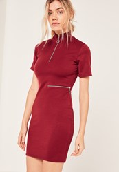 Missguided Red Zip Detail Waist High Neck Bodycon Dress
