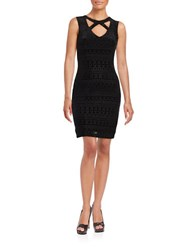 Guess Geometric Velvet Sheath Dress Black