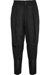 Tom Ford Cropped Pique Tapered Pants Black