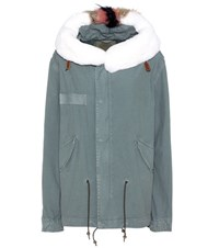 Mr And Mrs Italy Mini Parka Cotton Fur Lined Coat Green