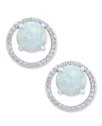 Macy's Opal 1 3 8 Ct. T.W. And Diamond 1 6 Ct. T.W. Halo Stud Earrings In Sterling Silver