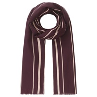 Jigsaw Silk Wool Blend Foulard Stripe Scarf Cranberry