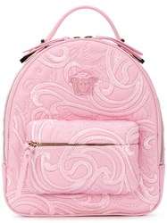 Versace Palazzo Chain Backpack Women Leather One Size Pink Purple