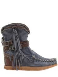 El Vaquero 70Mm Arya Fringed Suede Wedge Boots