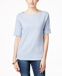 Karen Scott Elbow Sleeve Boat Neck Top Only At Macy's Light Blue Heather