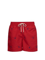 Polo Ralph Lauren Logo Embroidered Swim Shorts Red
