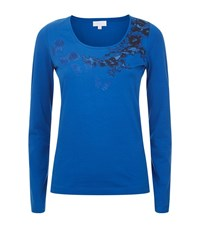 Escada Sport Floral Embroidered T Shirt Female Blue