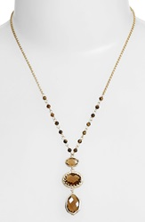 Nordstrom 3 Stone Pendant Necklace Tiger Eye Stone Gold