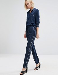 Vero Moda Piped Trousers Black Iris Navy