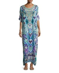 Camilla Round Neck Maxi Caftan Silk Dress Multi