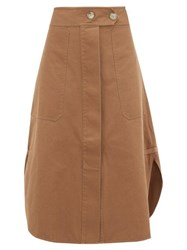 Lee Mathews Curved Hem Cotton Skirt Khaki